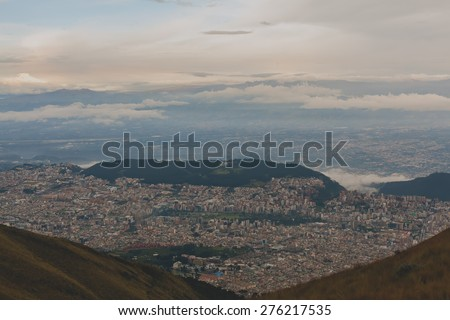 Aerial view of Quito Ecuador - stock photo