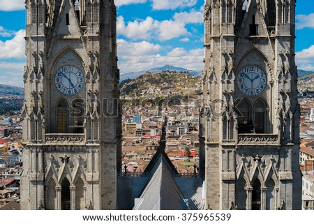 Aerial view of Quito From La Basilica church, Ecuador - stock photo
