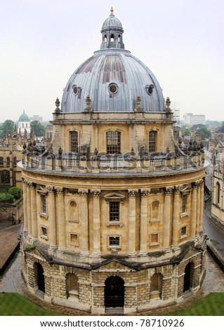 Aerial view of Radcliffe Camera, Oxford, England - stock photo