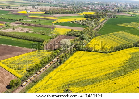 aerial view of   railway  track on the  harvest fields in Poland - stock photo