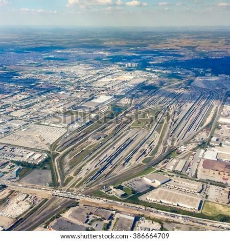 Aerial View of Railway Yard in Ontario - stock photo