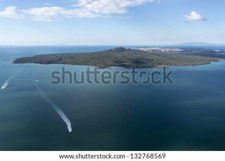 aerial view of Rangitoto Island - stock photo