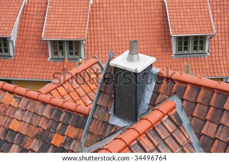 Aerial view of red roofs of  Quedlinburg, Germany - stock photo