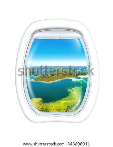 Aerial view of reef in Bate Bay south of Sydney, New South Wales, in eastern Australia from a plane through the porthole window. Copy space. - stock photo