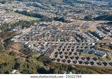 Aerial view of residential areas near Wellington, NZ - stock photo