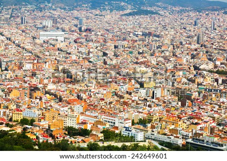 Aerial view of   residential  district in european city. Barcelona, Spain - stock photo