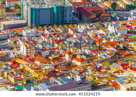 aerial view of residential houses in center of gibraltar - stock photo