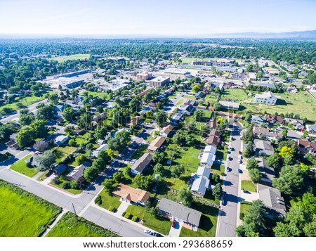 Aerial view of residential neighborhood in Lakewood, Colorado. - stock photo