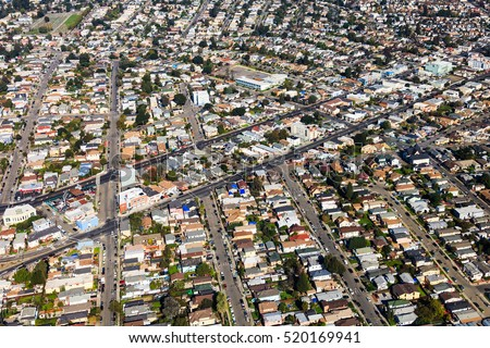 Aerial view of residential neighborhoods in Oakland, California.