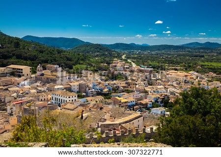 aerial view of residential small houses in Capdepera in Majorca, Spain