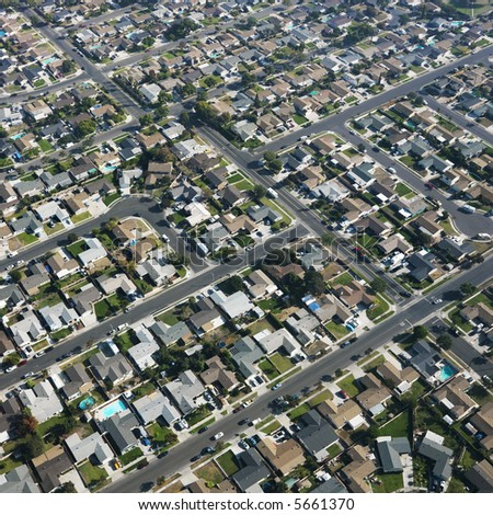 Aerial view of residential urban sprawl in southern California. - stock photo