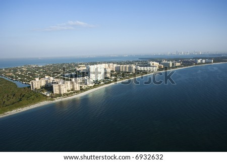 Aerial view of resort buildings on Key Biscayne beach, Flordia. - stock photo