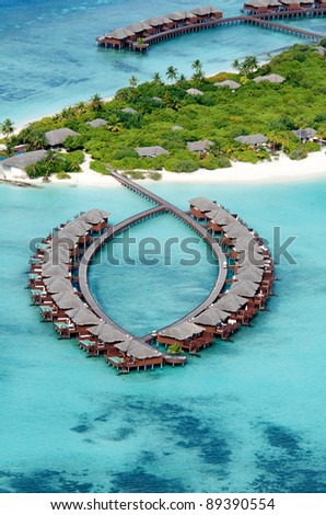 Aerial View of Resort Water Bungalows - stock photo