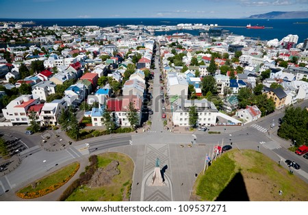 Aerial view of Reykjavik, capital of Iceland, from the top of the Hallgrimskirkja church