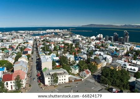 Aerial view of Reykjavik city on Iceland from Hallgrimskirkja church. - stock photo