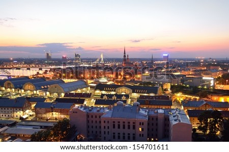 Aerial view of Riga by night. - stock photo