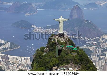 Aerial View of Rio De Janeiro and Christ the Redeemer - stock photo