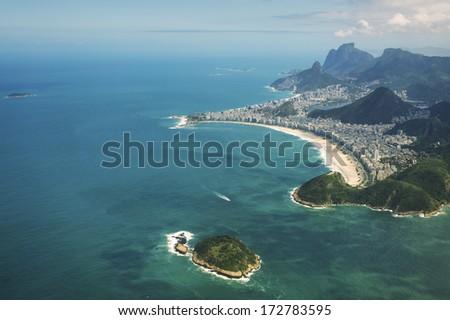 Aerial view of Rio de Janeiro Brazil with Copacabana Beach, Cotonduba Island, and Guanabara Bay in Zona Sul - stock photo