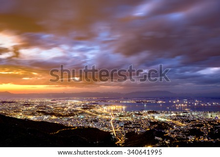 Aerial view of Rio de Janeiro downtown by night - stock photo