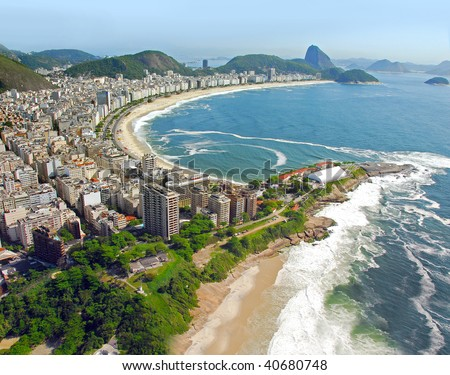 Aerial view of Rio De Janeiro's Beaches - stock photo
