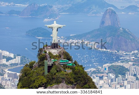Aerial view of Rio de Janeiro with Christ Redeemer and Corcovado Mountain - stock photo