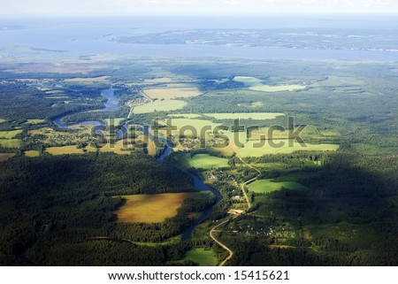 aerial view of River - stock photo