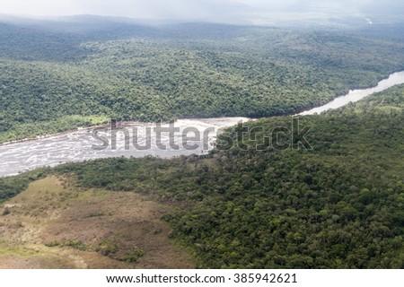Aerial view of river Carrao in Venezuela - stock photo
