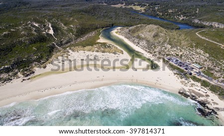 Aerial view of River Mouth, Margaret River, Western Australia - stock photo