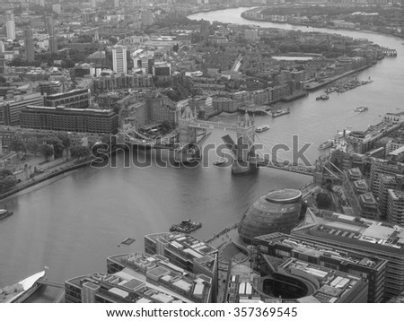 Aerial view of River Thames in London, UK in black and white - stock photo