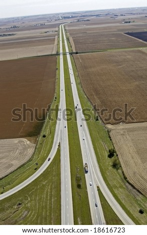 Aerial view of road - stock photo