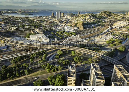 Aerial view of road system in Rio de Janeiro, Brazil - stock photo