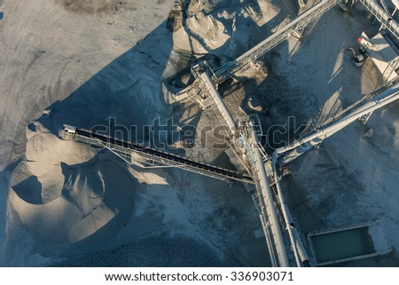 aerial view of rock quarry in Poland - stock photo