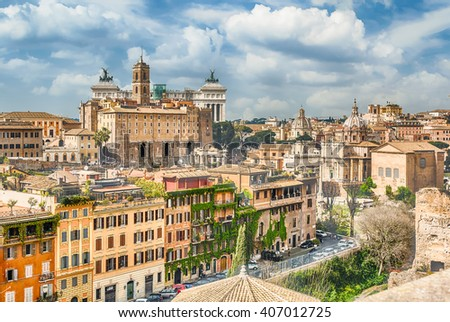 Aerial view of Rome city centre from the Palatine Hill, Italy - stock photo