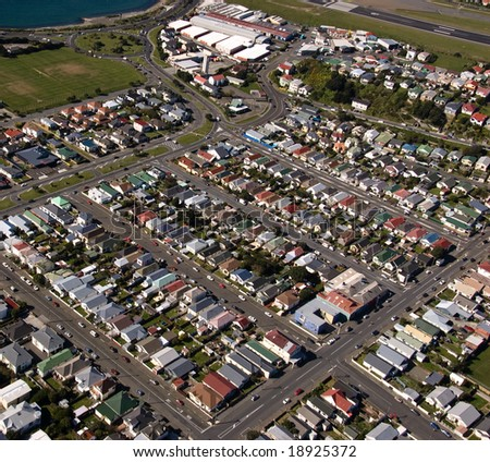 Aerial View of Rongotai, Wellington, New Zealand - Could be any town, anywhere - stock photo
