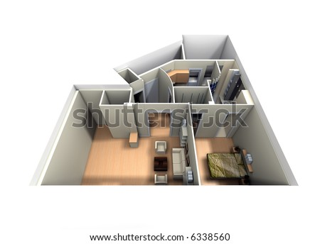 Aerial view of roofless apartment focused on living room and bedroom - stock photo