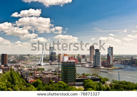 aerial view of  Rotterdam in the Netherlands, Europe - stock photo