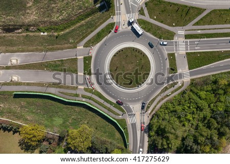 aerial view of roundabout in the city in  the summer - stock photo