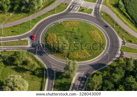 aerial view of roundabout in wroclaw city - stock photo