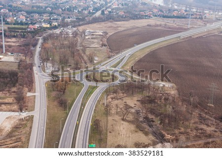 aerial view of roundabout in wroclaw city in Poland
