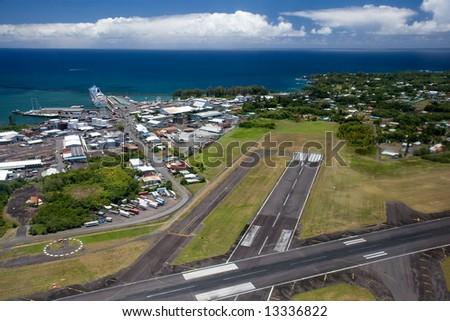 Aerial View of Runway at Hilo International Airport, Big Island, Hawaii - stock photo