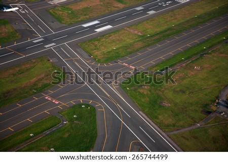 AERIAL VIEW of runway at Logan International Airport, Boston, MA  - stock photo