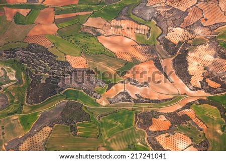Aerial view of rural area / green fields and olive trees plantations / Spain - stock photo