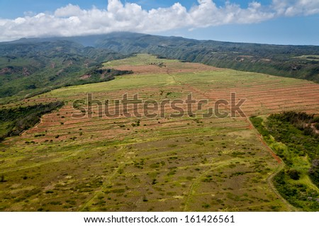 Aerial view of rural areas of northern Maui  - stock photo