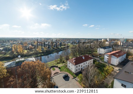 aerial view of rural city in latvia. valmiera urban district - Valmiera, Latvia, 2014-10-17