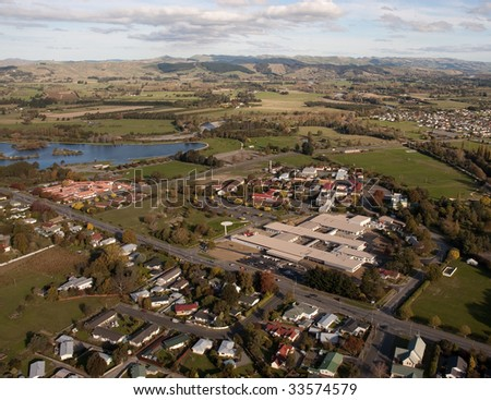 Aerial view of rural hospital in Masterton, NZ - stock photo
