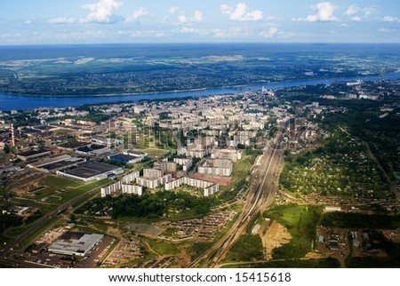 aerial view of Russia town - stock photo