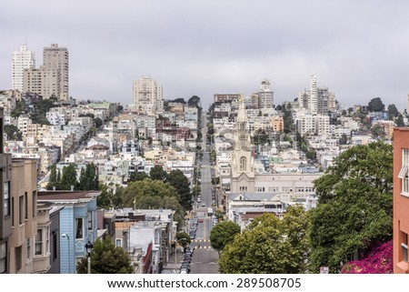 Aerial View of Russian Hill and North Beach areas of San Francisco, CA USA