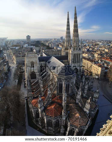 Aerial view of Saint André Cathedral, Bordeaux, France - stock photo