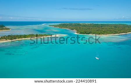 Aerial view of Saint Marie island, Madagascar  - stock photo