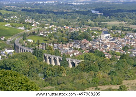 Aerial view of Saint-Satur and its viaduct seen from town Sancerre. Saint-Satur is a commune in the Cher department in central France